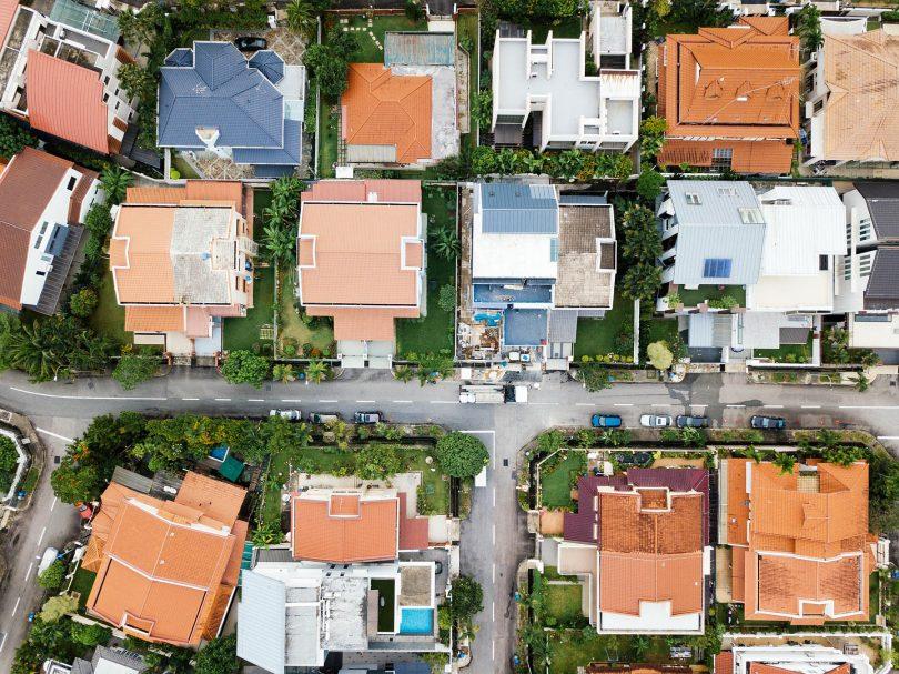 Maisons, vue aérienne